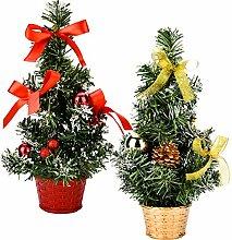 2 Stück Mini Künstliche Weihnachtsbaum mit Base