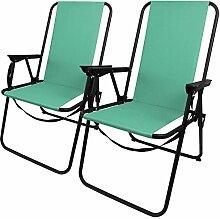 2 Stück Outdoor Klappstuhl faltbar inkl. Tragegurt, in 4 Farben verfügbar, Camping Garten Balkon Strand Faltstuhl Angelstuhl, Farbe:Türkis