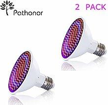 2 Stück Pflanzenlampe Pathonor 20W E27LED Wachstumslampe Mit 360 Grad Einstellbar Flexible für Büro Haus Garten Aquatische Pflanzen Blumen Veg Sämling [Energieklasse A]