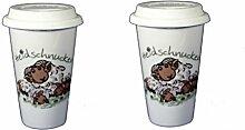 2 Stück- Porzellan- Coffee to Go mit Deckel - Heidschnucken- deutsches Produktdesign- der Umwelt zuliebe!