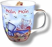 2 Stück- Porzellan- Große Tasse, Kaffeepott, Becher- Moin Moin maritim- deutsches Produktdesign