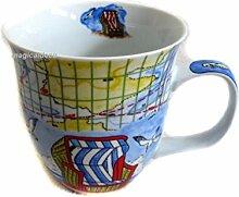 2 Stück- Porzellan- Große Tasse, Kaffeepott, Becher- Strandkorb- maritim