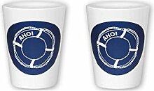 2 Stück- Porzellan- Milchbecher, Becher, Trinkbecher H 10,5 cm- maritim - Rettungsring- deutsches Produktdesign