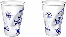 2 Stück- Porzellan- Milchbecher, Knickbecher, Becher- Sylt kannste knicken -deutsches Produktdesign