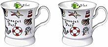 2 Stück- Porzellan- Tasse, Kaffeehaferl, Becher -