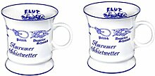 2 Stück- Porzellan- Tasse, Kaffeepott, Becher- Amrum mit Knotenranke -deutsches Produktdesign