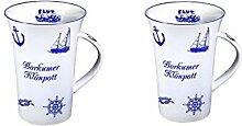 2 Stück- Porzellan- Tasse, Kaffeepott, Becher- Borkum - deutsches Produktdesign