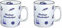 2 Stück - Porzellan- Tasse, Kaffeepott, Becher - Hamburg 0,5 L -deutsches Produktdesign