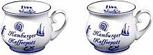 2 Stück- Porzellan- Tasse, Kaffeepott, Becher- maritim Hamburg -deutsches Produktdesign