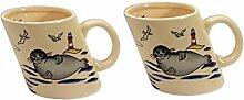 2 Stück- Porzellan- Tasse, Kaffeepott, Becher - Seehund Leuchtturm - maritim -deutsches Produktdesign