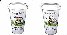 2 Stück- Porzellan- Thermo, doppelwandig- Coffee