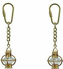 2 Stück- Schlüsselanhänger Lampe, Schiffslampe- Messing