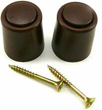2 Stück - Stopper Türstopper - Puffer Türpuffer - 27 mm Ø x 30 mm - mittel grau - Schrauben
