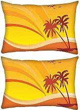 2Stück Summer Design mit Palm Baum und Regenbogen Hintergrund Rechteck Überwurf Werfen Kissenbezug, Decoarative Kissen Fall 35,6x 55,9cm