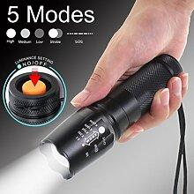 2Stück Tactical Taschenlampe, TopTen Fan-Motive 2000Lumen 5Leuchtmodi zoomable Camping LEDs Licht Taschenlampe für Angeln Jagd Wandern und Outdoor Aktivitäten
