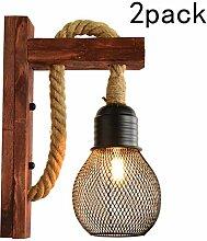 2 Stück Wandleuchte Innen Holz Vintage E27