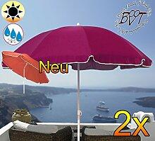 2 Stück XXL Sonnenschirm gross, 180 cm / 1,80 m EDEL mit Volant, Sonnendach Schirm Strandschirm r8 eckig, gediegen-violett lila Rand weiß, 8-tlg. Strandschirm,Sonnendach /Sonnenschutz Dach, XXL-Klappschirm, Gartenschirm extrem wetterfest, klappbar, tragbar, seewasserfest, hochwertig robust stabil, Sonnenschutz, stabiler Schirm Klappschirm, Strandschirme, Sonnenschirme, Sonnenschirm-Tische, Regenschirm Picknickschirme