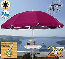 2 Stück XXL Sonnenschirm inkl. Schirmtisch gross, 180 cm / 1,80 m EDEL mit Volant, Sonnendach Schirm Strandschirm r8 eckig, gediegen-violett lila Rand weiß, 8-tlg. Strandschirm,Sonnendach /Sonnenschutz Dach, XXL-Klappschirm, Gartenschirm extrem wetterfest, klappbar, tragbar, seewasserfest, hochwertig robust stabil, Sonnenschutz, stabiler Schirm Klappschirm, Strandschirme, Sonnenschirme, Sonnenschirm-Tische, Regenschirm Picknickschirme