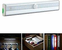 2 Stücke 10 LEDs Sensorleuchte Schrankbeleuchtung mit Bewegungsmelder Sensor Batteriebetrieben Licht Lampe für Schrank, Wandschrank, Gang, Schubfach, Treppen (Kaltweiß)