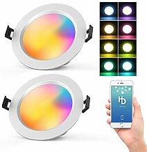 2 Stücke Dimmbar Downlight RGBWC Einbaulampe LED