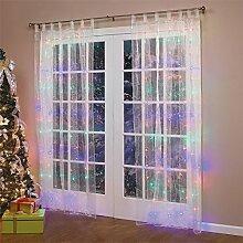 2 Stücke Fenster Lichterkette 3x3m ideal Beleuchtungsdeko für Weihnachten Geburtstag Hochzeit Ball Partys, Licht Farbe wählbar (Bunt)