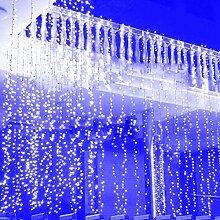 2 Stücke Fenster Lichterkette 3x3m ideal Beleuchtungsdeko für Weihnachten Geburtstag Hochzeit Ball Partys, Licht Farbe wählbar (LED Lichtfarbe Blau)