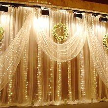 2 Stücke Fenster Lichterkette 3x3m ideal Beleuchtungsdeko für Weihnachten Geburtstag Hochzeit Ball Partys, Licht Farbe wählbar (LED Lichtfarbe Warmweiß)