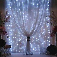 2 Stücke Fenster Lichterkette 3x3m ideale Beleuchtungsdeko für Weihnachten Geburtstag Hochzeit Ball Partys, Licht Farbe wählbar (Weiß)