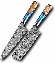 2 stücke Messer Set Damaskus Stahl VG10 Pro Chefs