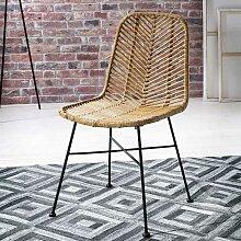 2 Stühle aus Rattan Metallgestell (2er Set)