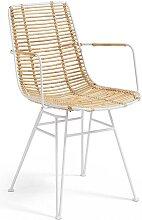 2 Stühle in Weiß Metall und Rattan Armlehnen