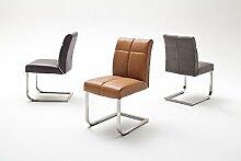 2 Stühle, Stuhl, Schwinger, Schwingstuhl, Freischwinger, Kunstleder grau