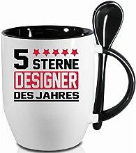 2 Tassen DESIGNER + WM Pott. Schwarzer Becher und Fussballtasse. Siehe auch Produktbild 2.