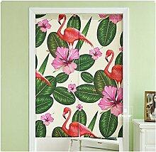 2 Teiler Flamingo Cartoon Baumwolle Leinen Tür Vorhang für Schlafzimmer Badezimmer Tapisserie Raumteiler Wandbehänge (85 x 120 cm, Flamingo 3)