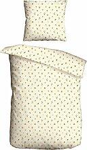 2-teilige Garnitur Bettwäsche Baumwolle Renforce Kissen Decke Bezug Größe 135x200 cm - inkl. Kissenhülle Design Rosen Beige Premium Qualität nach Öko Tex Standard 100