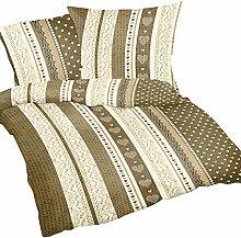2-teilige Seersucker Bettwäsche 135x200cm und 80x80cm - Love Liebe Herzen Sandbraun und Beige - Geschenkidee für Partner - Bettgarnitur aus 100% Baumwolle, bügelfrei (S-386/1)