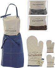 2-teiliges Küchenschürzen Set aus 100% Baumwolle, Koch / Back Schürze (84 x 60cm) & passender Topf / Back / Ofen Handschuh, erhältlich in 3 Farben (Beige - Grau)