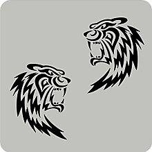 2 Tigerkopf-Aufkleber zur Dekoration von Autos, Motorrädern, Fahrrädern und allen anderen Fahrzeugen; aus 18 Farben wählbar; Schwarz