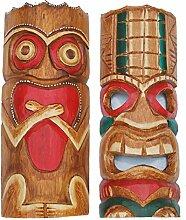 2 Tiki Masken 30cm zum Aufhängen Wandmaske Tiki