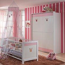 2-tlg Babyzimmer weiss - rosa Babybett &