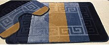 2 tlg. Badgarnitur Set 50x80 cm Badematte + 50x40 cm WC Vorleger Bad Set Multi Marine Blau