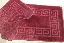 2 tlg. Badgarnitur Set 50x80 cm Badematte + 50x40 cm WC Vorleger Bad Set Uni Rosa
