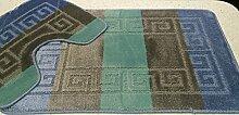 2 tlg. Badgarnitur Set 50x80 cm Badematte + 50x40 cm WC Vorleger Bad Set Multi Braun Türkis