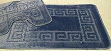 2 tlg. Badgarnitur Set 50x80 cm Badematte + 50x40 cm WC Vorleger Bad Set Uni Blau