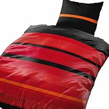 2 tlg. Bettwäsche 155 x 220 cm schwarz/rot