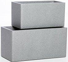 2-tlg. Blumenkübel-Set Freeport Park Farbe: Grau