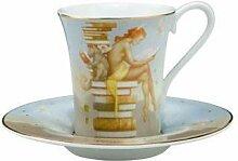 2-tlg. Espressotassenset Ex Libris aus Porzellan