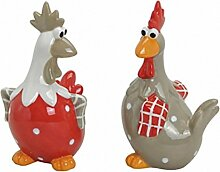 2 tlg. Huhn Set Keramik Dekohuhn Hühner Paar Osterdekoration Küchendeko