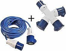 2 tlg Set 16A CEE 3-fach Stromverteiler 240V + 14m Stromkabel 3x1,5mm² mit Spritzwasserschutz