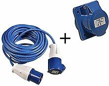 2 tlg Set CEE 16A Steckdose Einbau gerade 3-polig + Kabel 14m 3x1,5mm² mit Spritzwasserschutz
